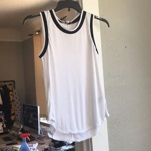 White with black trim tank top
